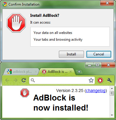 install Adblock in Google Chrome